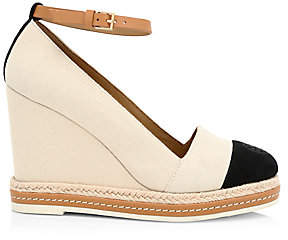 Tory Burch Women's Cap-Toe Leather-Trimmed Espadrille Wedges