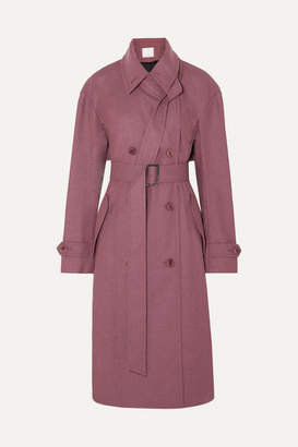 Tibi Double-breasted Felt Trench Coat - Plum