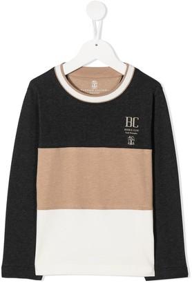 BRUNELLO CUCINELLI KIDS Colour-Block Long Sleeve Top