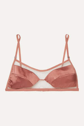 Dion Lee Tulle And Stretch-silk Satin Soft-cup Triangle Bra - Bronze