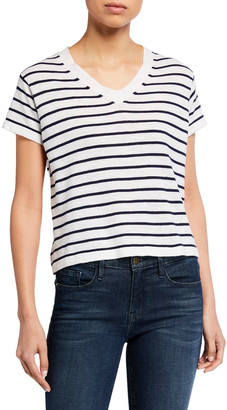 LISA TODD Side Line Striped Short-Sleeve V-Neck Tee