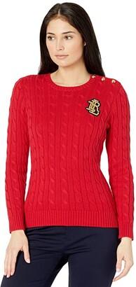 Lauren Ralph Lauren Petite Button Trim Cable Knit Sweater (Lipstick Red) Women's Clothing