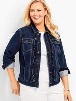 Talbots Womans Exclusive Knit Ruffle Denim Jacket