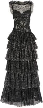 Rodarte Flocked Glitter Tiered Gown