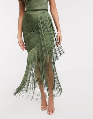 ASOS DESIGN drape fringe maxi skirt two-piece in washed satin in khaki