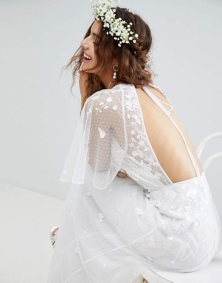 Asos Edition EDITION Embroidered Flutter Sleeve Maxi Wedding Dress