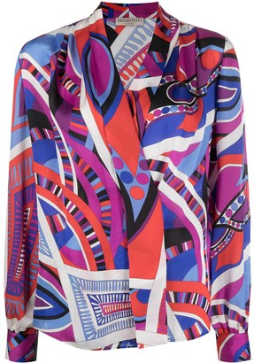 Emilio Pucci Pre-Owned Abstract Print Wrap Shirt