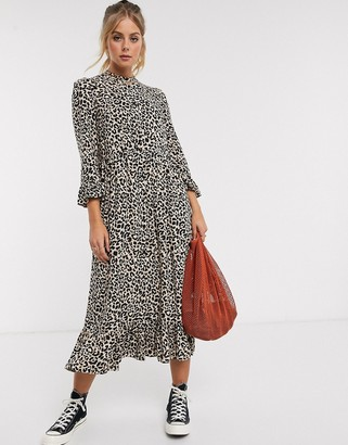 Asos DESIGN button through tiered smock maxi dress in leopard print