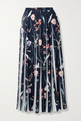 Jason Wu Collection Pleated Floral-print Crepe Midi Skirt - Midnight blue