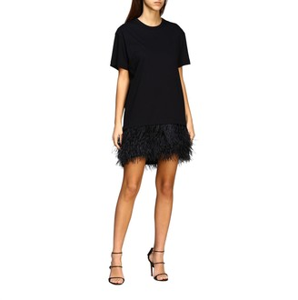 N°21 N° 21 N deg; 21 Short Dress In Cotton Jersey With Feather Bottom