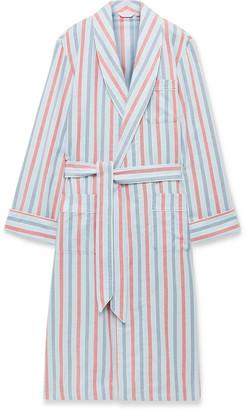 Derek Rose Kelburn Striped Brushed Cotton Robe - Men - Blue