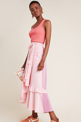 Maeve Penny Ruffled Midi Skirt By in Red Size XS