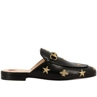 Gucci Princetown Leather Slipper With Metal Clamp And Star / Bee Embroidery