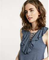 Express one eleven stripe lace-up ruffle top