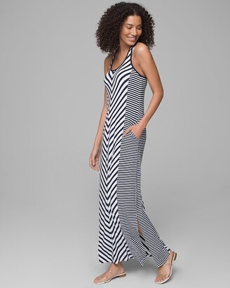 Invisible Support Striped Racerback Maxi Dress with Built-In Bra