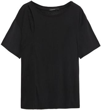 Koral Fluid Naturae Cutout Tencel And Linen-blend T-shirt