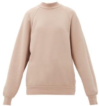 LES TIEN High-neck Brushed-back Cotton Sweatshirt - Light Pink
