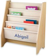 Kid Kraft Personalized Girl's Sling Bookshelf in Natural with Blue Lettering
