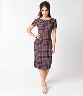 Stop Staring 1950s Style Purple Plaid Short Sleeve Siri Wiggle Dress