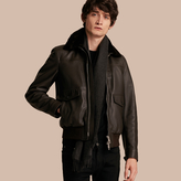 Burberry Textured Leather Jacket with Detachable Mink Collar