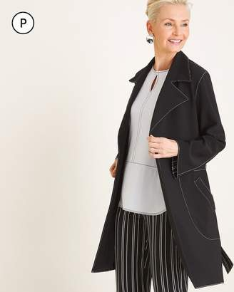 Travelers Collection Petite Contrast-Trim Trench Coat