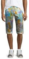 PRPS Paint-Splattered Slim-Fit Shorts, White/Multi