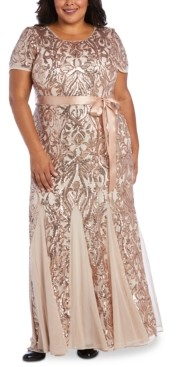 R & M Richards Plus Size Embellished Godet Gown