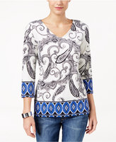 Charter Club Petite Paisley-Print V-Neck Top, Only at Macy's