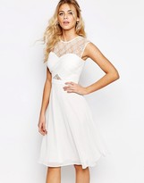 Elise Ryan Lace Top Midi Skater Dress With Cross Front