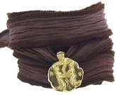 Catherine Michiels Astral Sisters Yellow Gold Charm & Silk Bracelet Wrap