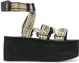 Moschino Logo-Strap Platform Sandals
