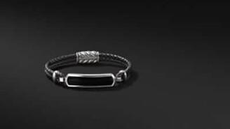 David Yurman Davidyurman Exotic Stone Bar Station Bracelet In Black Leather With