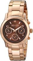 SO & CO New York Women's 5012.4 Madison Rose Gold-Tone Stainless Steel Watch with Link Bracelet