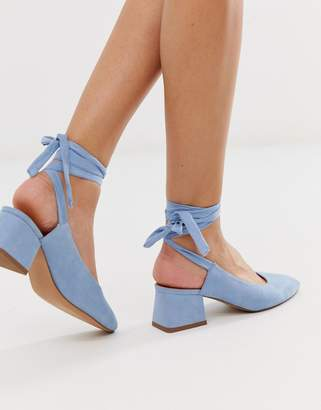 Asos Design DESIGN Steps tie leg mid heels in pale blue