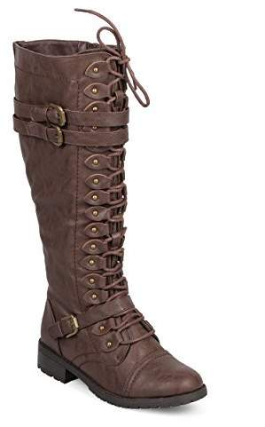 8a92aa67284 WEST COAST Women's Knee High Riding Boots Lace up Buckles Winter Combat  Boots 7