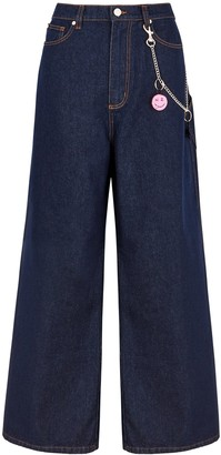 Natasha Zinko Blue Chain-embellished Wide-leg Jeans