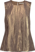 Halston Pleated metallic chiffon top