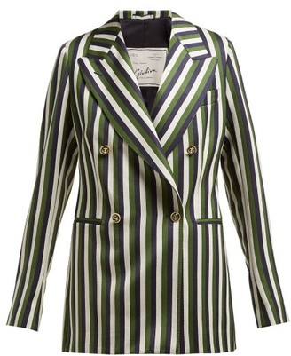 Giuliva Heritage Collection The Stella Double-breasted Striped Wool Blazer - Green Multi