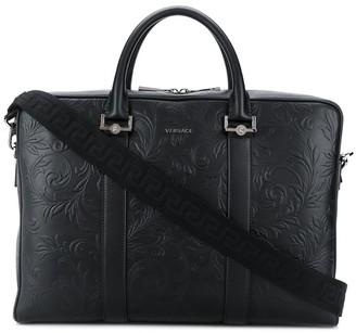 Versace Barocco-embossed briefcase