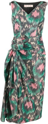 Marni Abstract-Print Side Bow Dress