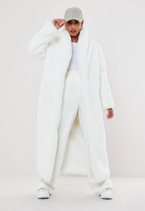 Missguided Premium White Faux Fur Maxi Coat
