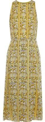Mikael Aghal Pleated Printed Burnout Georgette Midi Dress