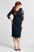 Lands' End Women's Plus Size 3/4-sleeve Lace Ponté Dress