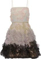 Valentino Floral-appliquéd silk-chiffon dress