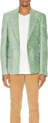 Amiri Paisley Velvet Glitter Blazer in Pale Lime | FWRD