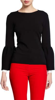 Valentino Long-Sleeve Tulip-Cuff Sweater