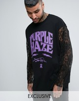 Reclaimed Vintage Inspired Oversized Longsleeve Band T-shirt With Lace Sleeves