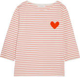 Chinti and Parker Velvet-appliquéd Striped Cotton-jersey Top - Pink
