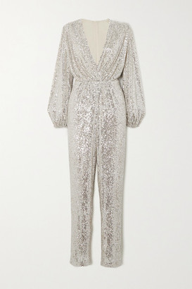 In The Mood For Love Bjork Sequined Tulle Jumpsuit - Silver