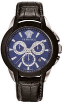 Versace 42.5mm Men's Character Chronograph Watch w/ Leather Strap, Black/Blue